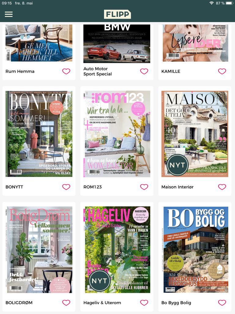Flipp appen gir deg tilgang på en rekke magasiner innen blant annet interiør, livsstil og hage
