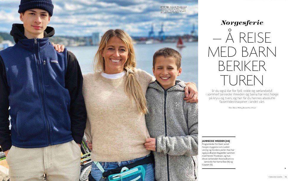 Jannecke Weden med familien på tur i magasinet Foreldre og Barn.